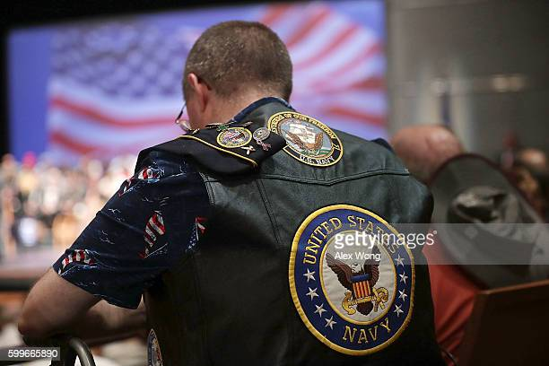 S Navy veteran participates in an opening prayer during a campaign event for Republican presidential nominee Donald Trump September 6 2016 in...
