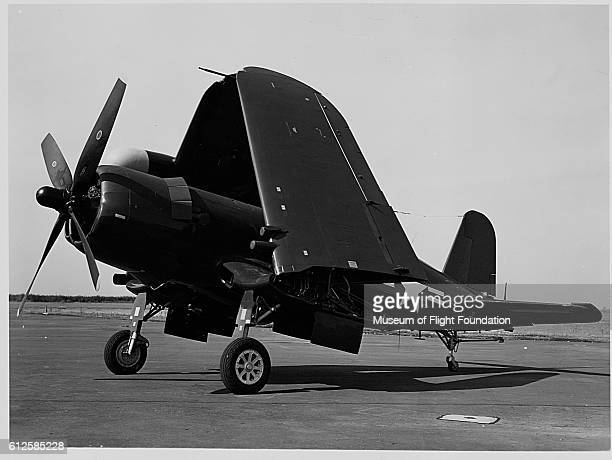 A U S Navy Vought F4U5N Corsair fighter with folded wings in 1948