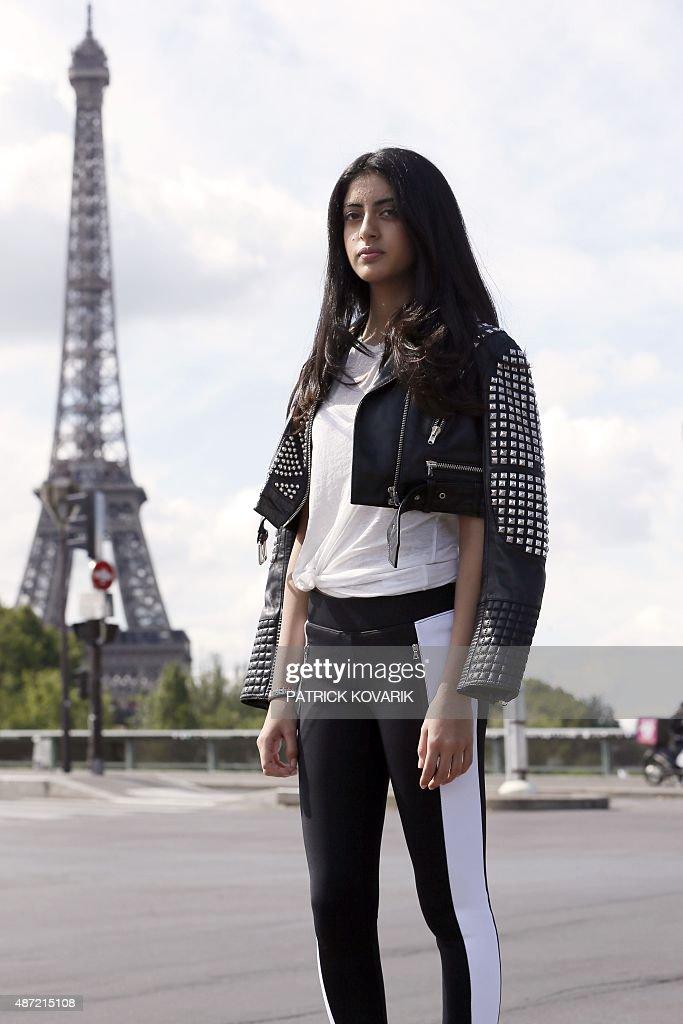 Navya Naveli Nanda granddaughter of Bollywood actor Amitabh Bachchan poses near the Effeil tower on September 2 2015 in Paris Navya Naveli Nanda will...