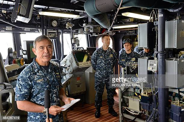 US Navy's Pacific Fleet commander Admiral Harry Harris speaks to journalists during his visit to USS Spruance Arleigh Burkeclass guidedmissile...
