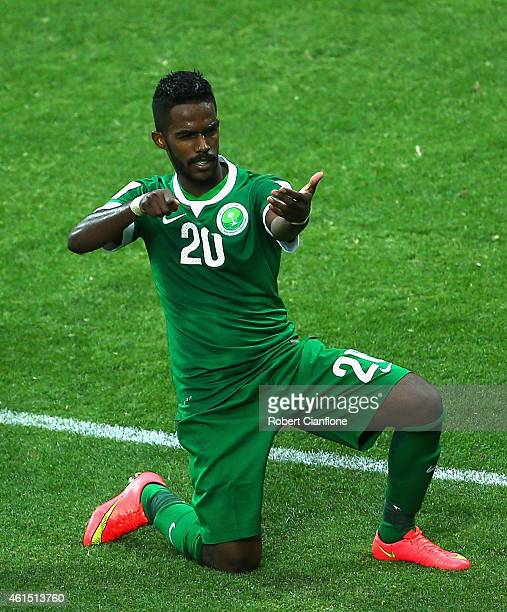Nawaf Al Abid of Saudi Arabia celebrates after he scored a goal during the 2015 Asian Cup match between DPR Korea and Saudi Arabia at AAMI Park on...