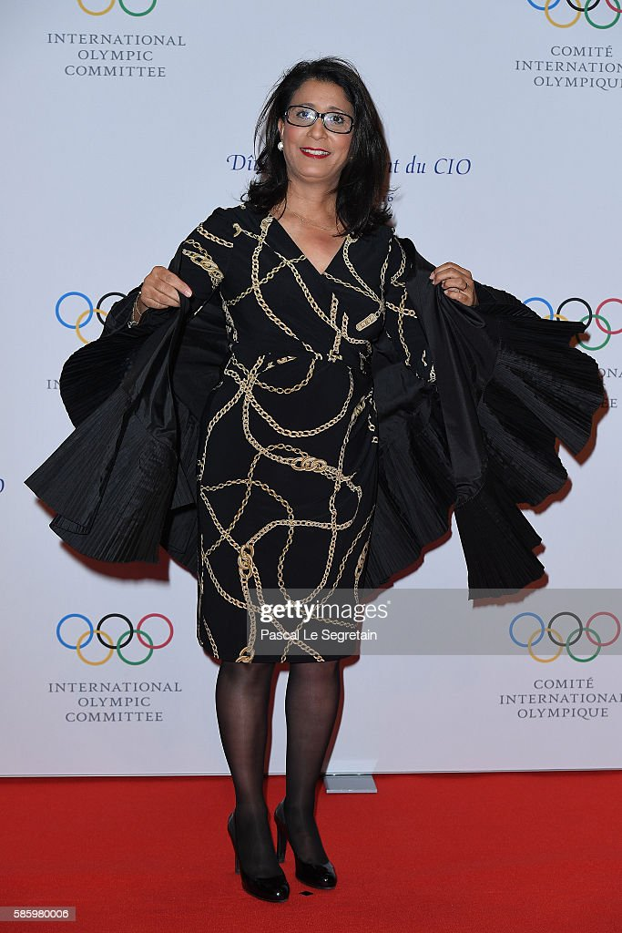 Nawal El Moutawakel arrives to attend the President's dinner at the Windsor convention centre on August 4, 2016 in Rio de Janeiro, Brazil.