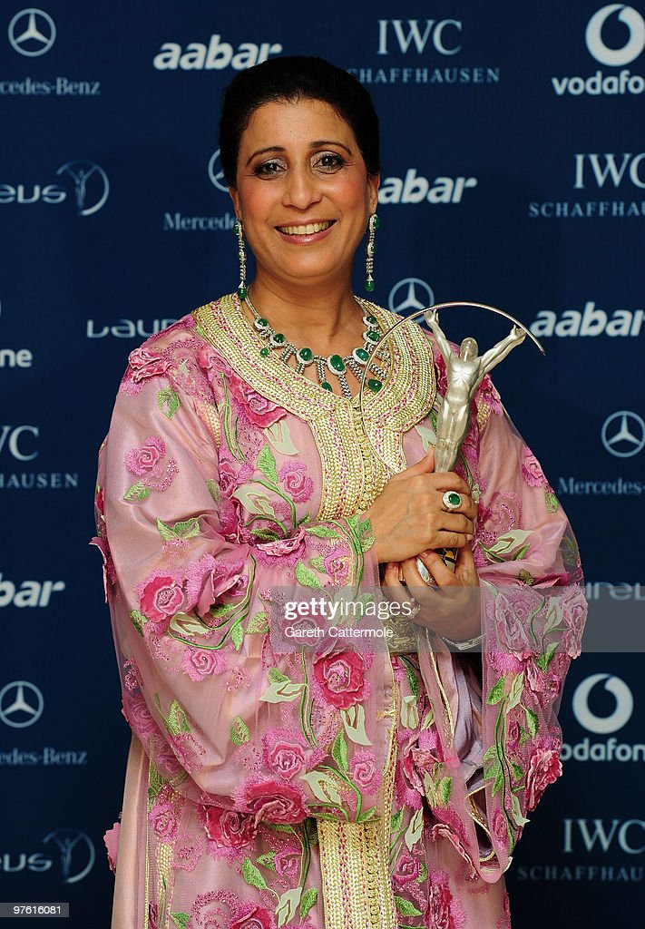 Nawal El Moutawakel becomes emotional while accepting her ' Lifetime Acheivement' award on stage during the Laureus World Sports Awards 2010 at Emirates Palace Hotel on March 10, 2010 in Abu Dhabi, United Arab Emirates.