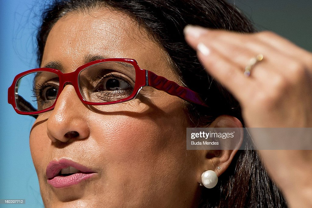 Nawal El Moutawakel, Chairperson of IOC talks during the press conference of 4th Meeting of IOC Coordination Commission for the Olympic Games at Windsor Hotel on February 20, 2013 in Rio de Janeiro, Brazil.