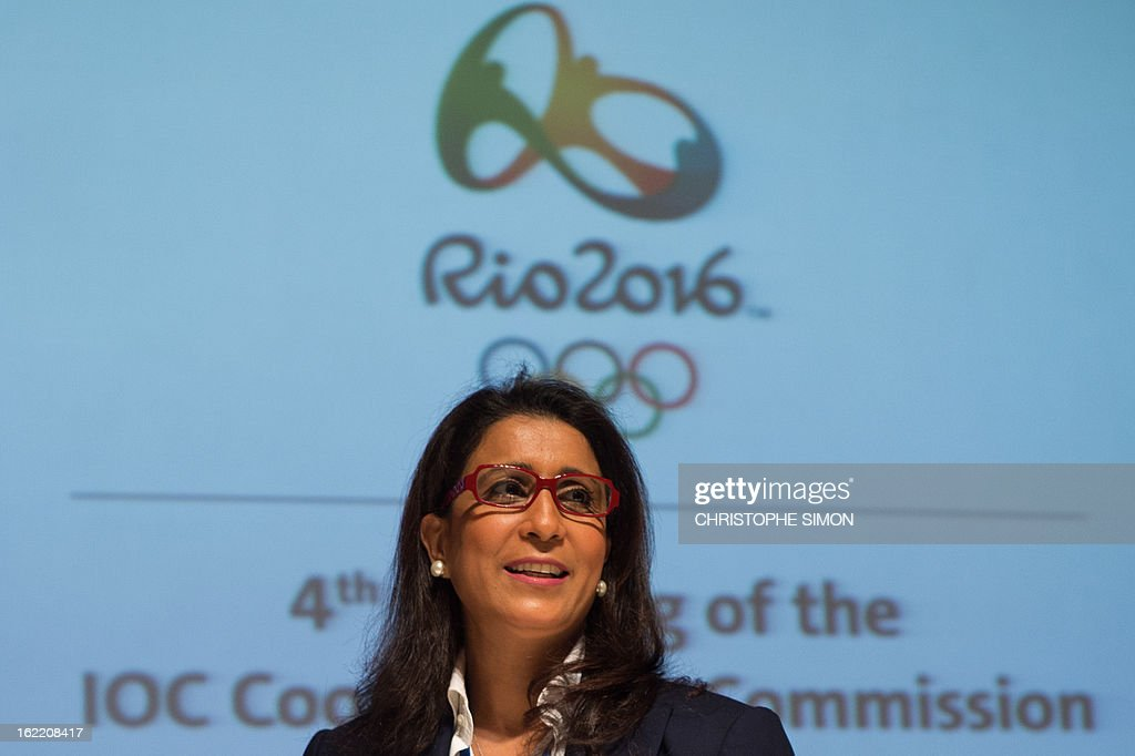 Nawal El Moutawakel, president of the Coordination Commission of the Rio 2016 Olympics, arrives for a presser of the 4th meeting of the organism, in Rio de Janeiro, Brazil, on February 20, 2013. AFP PHOTO / Christophe Simon