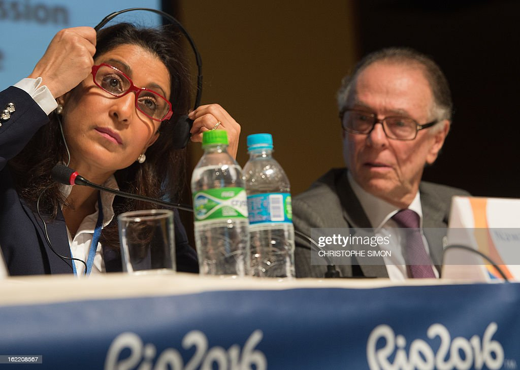 Nawal El Moutawakel (L), president of the Coordination Commission of the Rio 2016 Olympics and Carlos Arthur Nuzman, president of the Organisation Committee, during a presser of the 4th meeting of the organism, in Rio de Janeiro, Brazil, on February 20, 2013. AFP PHOTO / Christophe Simon