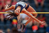 Nawal Meniker from France competes in women's high jump during the IAAF World U20 Championships at the Zawisza Stadium on July 24 2016 in Bydgoszcz...