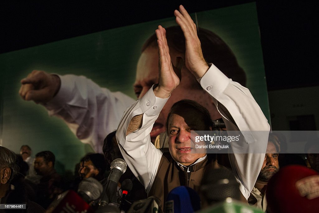 Nawaz Sharif, leader of political party Pakistan Muslim League-N (PMLN), addresses supporters during an election campaign rally on May 03, 2013 in Multan, Pakistan. Pakistan's parliamentary elections are due to be held on May 11. Imran Khan of Pakistan Tehrik e Insaf (PTI) and Nawaz Sharif of the Pakistan Muslim League-N (PMLN) have been campaigning hard in the last weeks before polling.