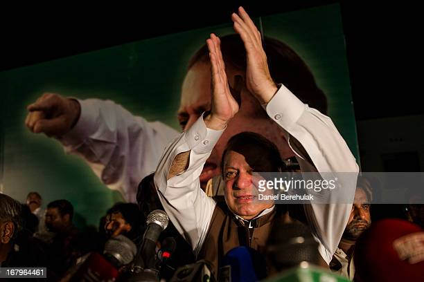 Nawaz Sharif leader of political party Pakistan Muslim LeagueN addresses supporters during an election campaign rally on May 03 2013 in Multan...