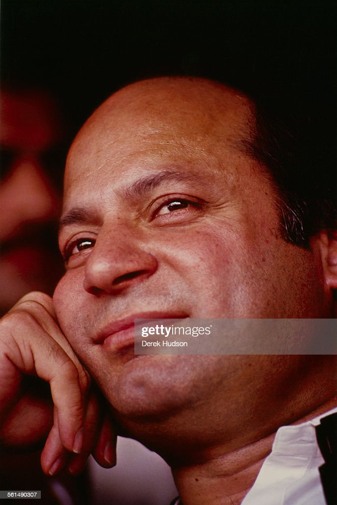 <a gi-track='captionPersonalityLinkClicked' href=/galleries/search?phrase=Nawaz+Sharif&family=editorial&specificpeople=217726 ng-click='$event.stopPropagation()'>Nawaz Sharif</a>, leader of the Islami Jamhoori Ittehad or Islamic Democratic Alliance (IJI or IDA), looking relaxed in the run-up to the Pakistani General Election, Pattoki, Pakistan, 13-14th October 1990.