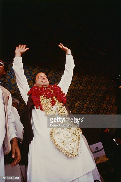 Nawaz Sharif leader of the Islami Jamhoori Ittehad or Islamic Democratic Alliance campaigning in the runup to the Pakistani General Election Pattoki...