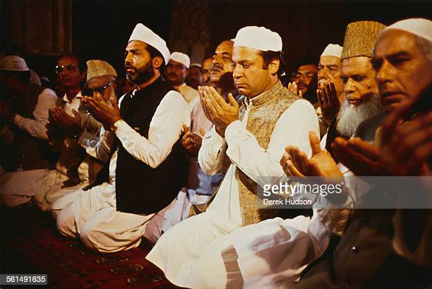Nawaz Sharif leader of the Islami Jamhoori Ittehad or Islamic Democratic Alliance participates in friday prayer at the Badshahi Mosque in Lahore...