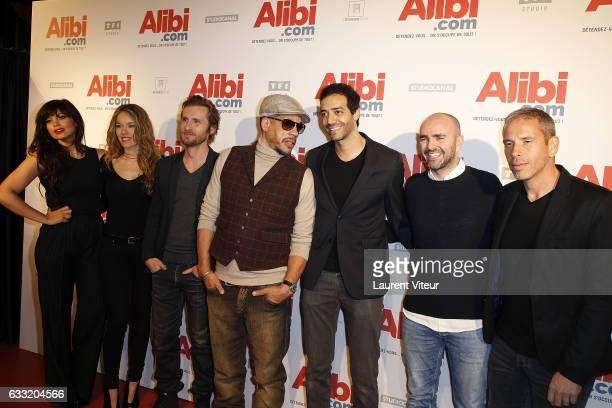 Nawell Madani Elodie Fontan Philippe Lacheau JoeyStarr Tarek Boudali Julien Arruti and Medi Sadoun attend the 'Alibicom' Paris Premiere at Cinema...