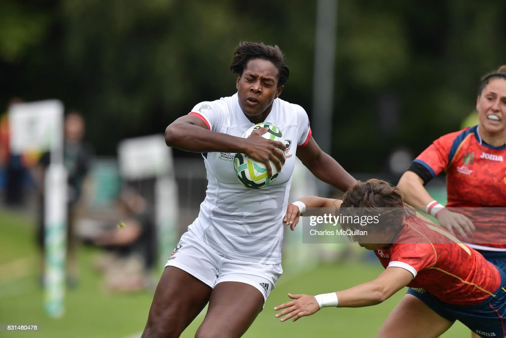 Naya Elena Tapper of USA pushes her way through the Spanish back line to score a try during the Womens Rugby World Cup 2017 Pool B game between USA and Spain at UCD Bowl on August 13, 2017 in Dublin, Ireland.