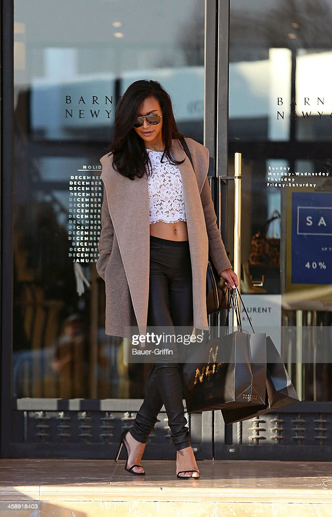 Naya Rivera is seen shopping at Barneys New York on December 22, 2013 in Los Angeles, California.
