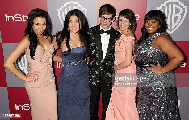Naya Rivera Jenna Ushkowitz Kevin McHale Lea Michele and Amber Riley arrive at the 12th Annual Warner Bros and Instyle PostGolden Globe Party at the...