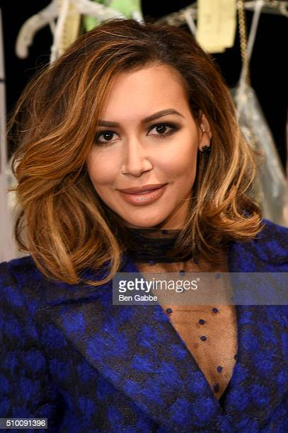 Naya Rivera poses backstage at the Monique Lhuillier Fall 2016 fashion show during New York Fashion Week The Shows at The Arc Skylight at Moynihan...