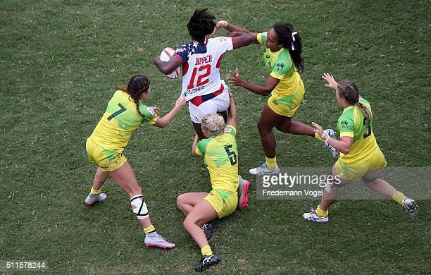 Naya Tapper of USA in action against Australia during the Women's HSBC Sevens World Series at Arena Barueri on February 21 2016 in Barueri Brazil