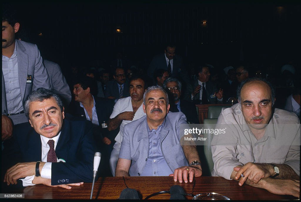 Nayef Hawatmeh, leader of the P.D.F.L.P. (Popular Democratic Front for the Liberation of Palestine), P.F.L.P. (Popular Front for Liberation of Palestine) leader Georges Habache, and Abu Jihad, P.L.O.'s number 2 leader, during the National Palestine council in Algiers.