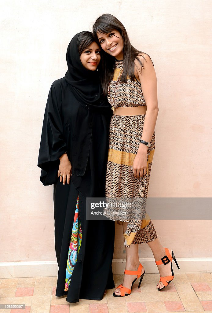 Nayla al Khaja and Freida Pinto during a portrait session on day six of the 9th Annual Dubai International Film Festival held at the Madinat Jumeriah Complex on December 14, 2012 in Dubai, United Arab Emirates.