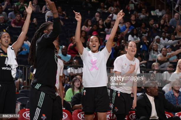Nayo RaincockEkunwe of the New York Liberty celebrates from the bench during the game against the Minnesota Lynx during the WNBA game on August 20...