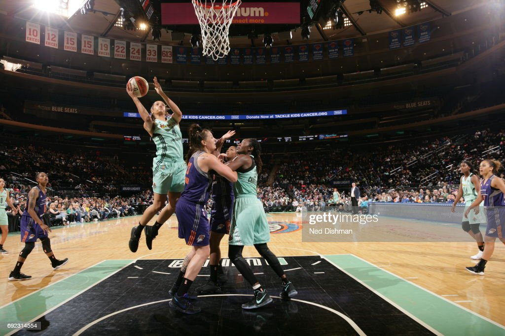 Nayo Raincock-Ekunwe #4 of the New York Liberty drives to the basket against the Phoenix Mercury on June 4, 2017 at Madison Square Garden in New York, New York.
