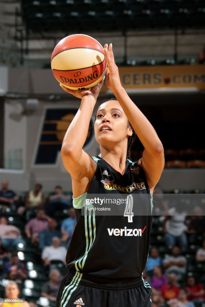 Nayo Raincock-Ekunwe #4 of the New York Liberty shoots the ball during the game against the Indiana Fever during a WNBA game on August 23, 2017 at Bankers Life Fieldhouse in Indianapolis, Indiana.
