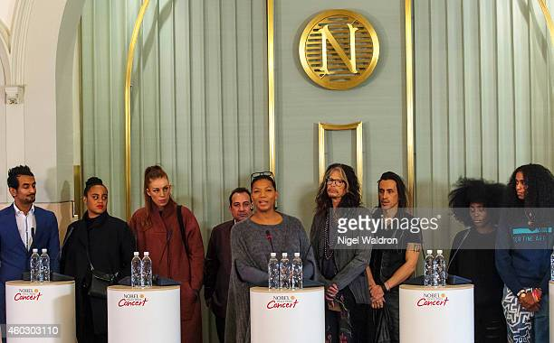 Naz Choudhury Seinabo Sey Gabrielle Ustad Rahat Fateh Ali Khan Queen Latifah Steven Tyler and Laura Mvula speaks during the Nobel Peace Prize Concert...