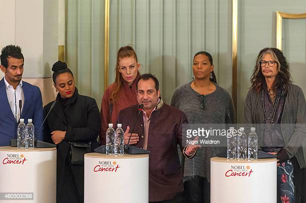 Naz Choudhury Seinabo Sey Gabrielle Ustad Rahat Fateh Ali Khan Queen Latifah and Steven Tyler speak during at the Nobel Peace Prize Concert press...
