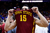 Naz Long of the Iowa State Cyclones celebrates their 70 to 66 win over the Kansas Jayhawks during the championship game of the Big 12 Basketball...