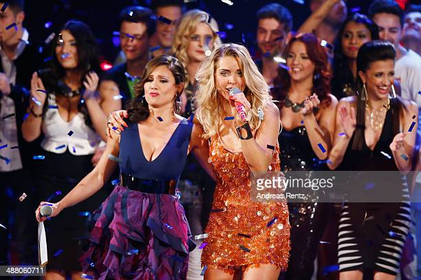 Nazan Eckes and Aneta Sablik perform on stage during the final of the 'Deutschland sucht den Superstar' show at Coloneum on May 3 2014 in Cologne...