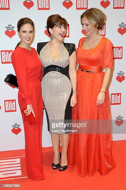 Nazan Eckes Birgit Schrowange and Caroline Beil attends 'Ein Herz Fuer Kinder Gala 2012' Red Carpet Arrivals at Axel Springer Haus on December 15...