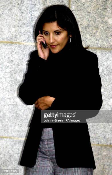 Nazanine Moshiri broadcast journalist for BBC Radio 1 leaves the Old Bailey Criminal Court in central London after having given evidence in the trial...