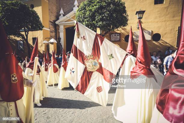 'Nazareno' of the Brotherhood called quotSan Bernardoquot during its parade to Cathedral on Holy Wednesday in Seville Spain 12 april 2017 Sevillian...