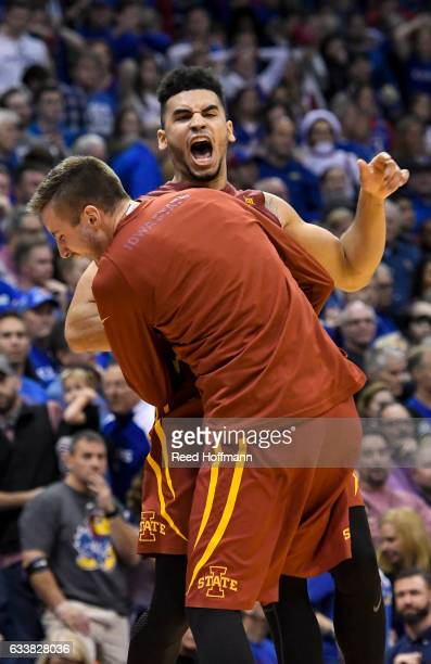 Nazareth MitrouLong of the Iowa State Cyclones and teammate Wes Greder celebrate their win over the Kansas Jayhawks on February 4 2017 at Allen Field...