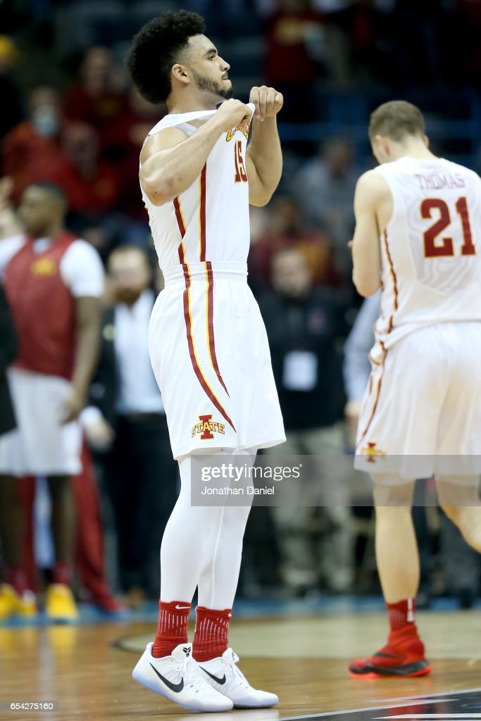Nazareth Mitrou-Long #15 of the Iowa State Cyclones reacts in the second half against the Nevada Wolf Pack during the first round of the 2017 NCAA Men's Basketball Tournament at BMO Harris Bradley Center on March 16, 2017 in Milwaukee, Wisconsin.
