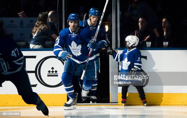 Nazem Kadri and Nikita Zaitsev of the Toronto Maple Leafs take the ice prior to the game against the Florida Panthers at the Air Canada Centre on...