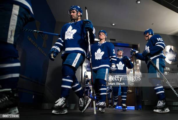 Nazem Kadri and Nikita Zaitsev of the Toronto Maple Leafs walks out of the dressing room prior to the game against the Pittsburgh Penguins at the Air...