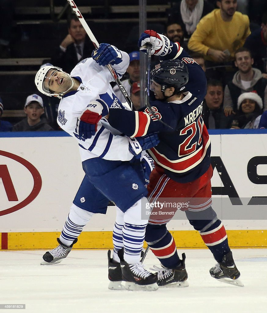 <a gi-track='captionPersonalityLinkClicked' href=/galleries/search?phrase=Nazem+Kadri&family=editorial&specificpeople=4043234 ng-click='$event.stopPropagation()'>Nazem Kadri</a> #43 of the Toronto Maple Leafs and <a gi-track='captionPersonalityLinkClicked' href=/galleries/search?phrase=Chris+Kreider&family=editorial&specificpeople=5894671 ng-click='$event.stopPropagation()'>Chris Kreider</a> #20 of the New York Rangers collide during the second period at Madison Square Garden on December 23, 2013 in New York City.