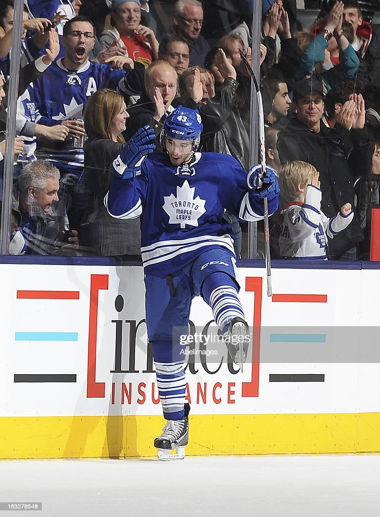 <a gi-track='captionPersonalityLinkClicked' href=/galleries/search?phrase=Nazem+Kadri&family=editorial&specificpeople=4043234 ng-click='$event.stopPropagation()'>Nazem Kadri</a> #43 of the Toronto Maple Leafs celebrates a third period goal during NHL game action against the Ottawa Senators March 6, 2013 at the Air Canada Centre in Toronto, Ontario, Canada.