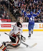 Nazem Kadri of the Toronto Maple Leafs celebrates a third period goal as Frederik Andersen of the Anaheim Ducks looks on during NHL game action...