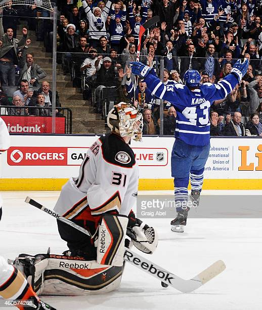 Nazem Kadri of the Toronto Maple Leafs celebrates a third period goal as Frederik Andersen of the Anaheim Ducks looks on during NHL game action...