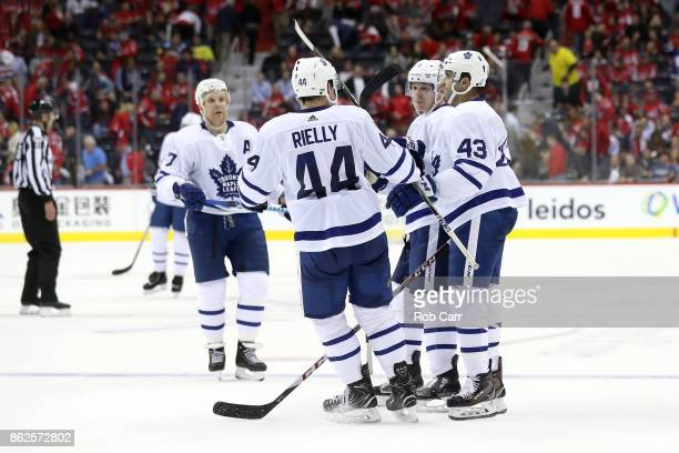 Nazem Kadri of the Toronto Maple Leafs celebrates after scoring an empty net goal against the Washington Capitals in the third period at Capital One...