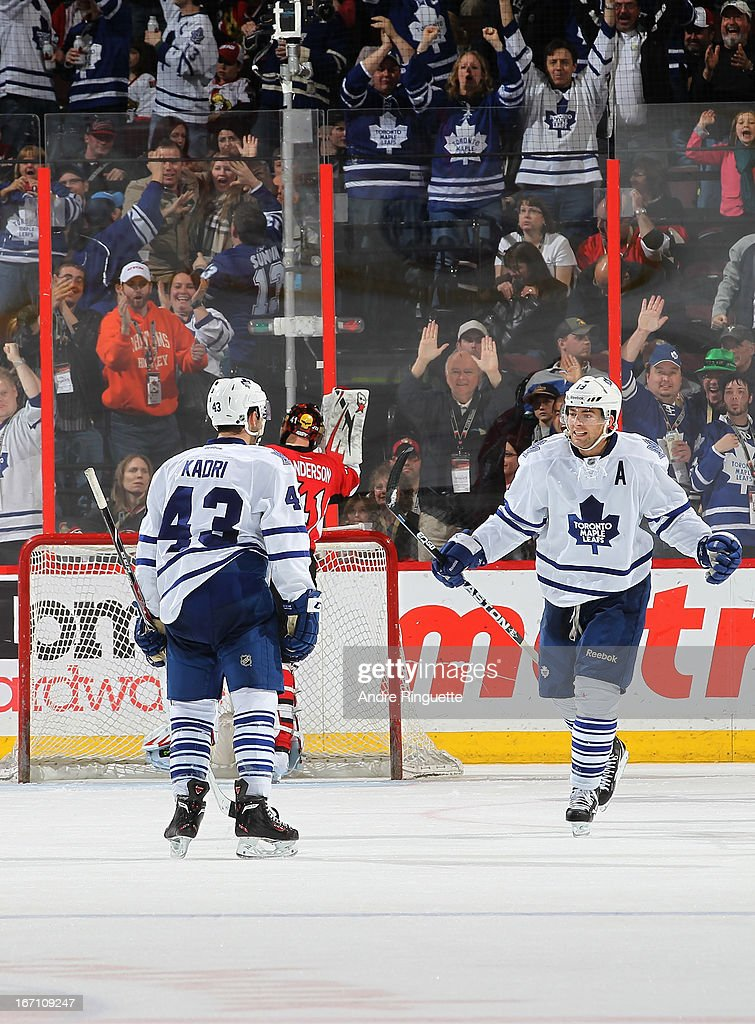 <a gi-track='captionPersonalityLinkClicked' href=/galleries/search?phrase=Nazem+Kadri&family=editorial&specificpeople=4043234 ng-click='$event.stopPropagation()'>Nazem Kadri</a> #43 of the Toronto Maple Leafs celebrates his third period goal against the Ottawa Senators with teammate <a gi-track='captionPersonalityLinkClicked' href=/galleries/search?phrase=Joffrey+Lupul&family=editorial&specificpeople=206995 ng-click='$event.stopPropagation()'>Joffrey Lupul</a> #19 on April 20, 2013 at Scotiabank Place in Ottawa, Ontario, Canada.