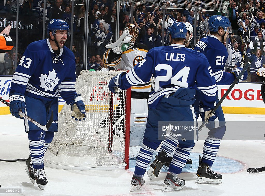 <a gi-track='captionPersonalityLinkClicked' href=/galleries/search?phrase=Nazem+Kadri&family=editorial&specificpeople=4043234 ng-click='$event.stopPropagation()'>Nazem Kadri</a> #43 of the Toronto Maple Leafs celebrates Phil Kessel goal against the Boston Bruins in Game Six of the Eastern Conference Quarterfinals during the 2013 NHL Stanley Cup Playoffs May 12, 2013 at the Air Canada Centre in Toronto, Ontario, Canada.