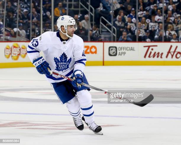 Nazem Kadri of the Toronto Maple Leafs follows the play down the ice during third period action against the Winnipeg Jets at the Bell MTS Place on...