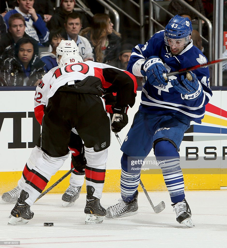 Nazem Kadri #43 of the Toronto Maple Leafs gets around Mike Lundin #10 of the Ottawa Senators during NHL action at the Air Canada Centre February 16, 2013 in Toronto, Ontario, Canada.