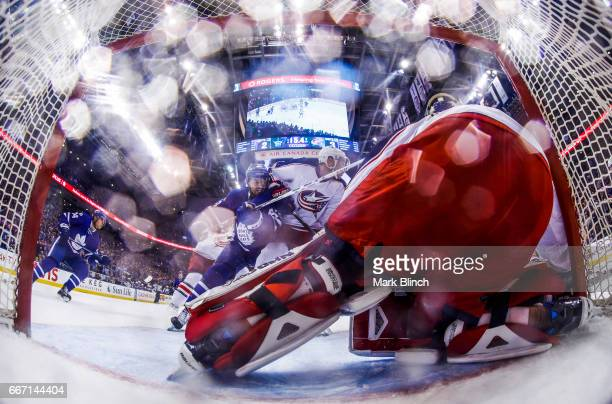 Nazem Kadri of the Toronto Maple Leafs goes to the net against Joonas Korpisalo of the Columbus Blue Jackets during the third period at the Air...