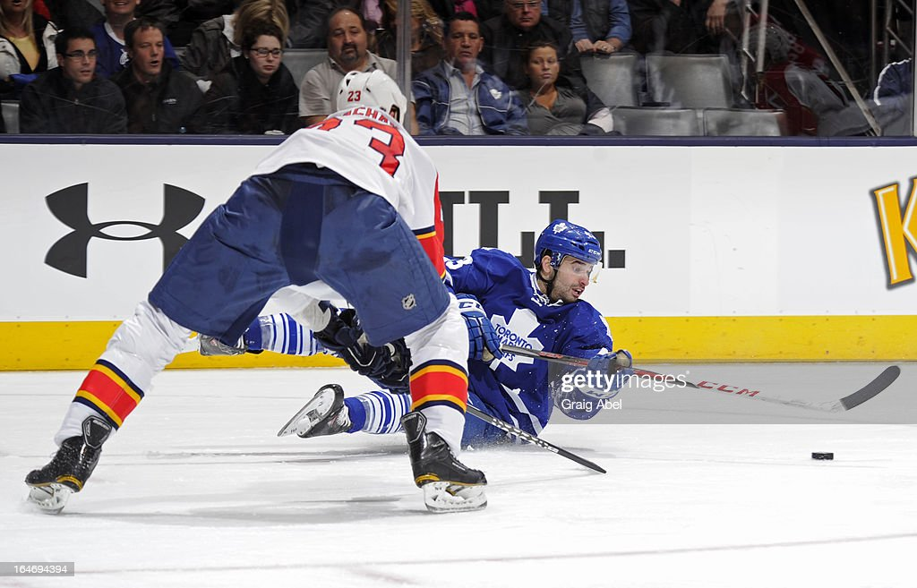 Nazem Kadri #43 of the Toronto Maple Leafs looks to pass the puck as Tyson Strachan #23 of the Florida Panthers defends during NHL game action March 26, 2013 at the Air Canada Centre in Toronto, Ontario, Canada.