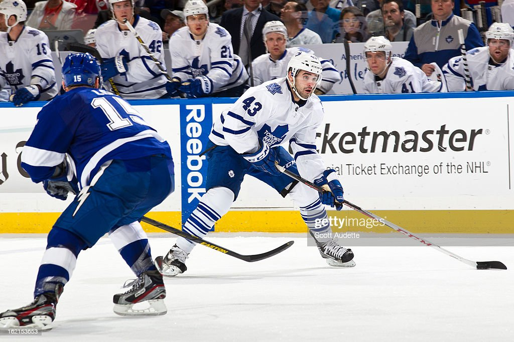 <a gi-track='captionPersonalityLinkClicked' href=/galleries/search?phrase=Nazem+Kadri&family=editorial&specificpeople=4043234 ng-click='$event.stopPropagation()'>Nazem Kadri</a> #43 of the Toronto Maple Leafs moves the puck during the third period of the game against the Tampa Bay Lightning at the Tampa Bay Times Forum on February 19, 2013 in Tampa, Florida.